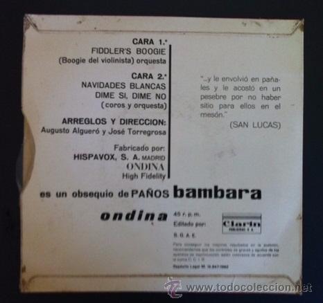 Discos de vinilo: AUGUSTO ALGUERÓ Y JOSÉ TORREGROSA - PAÑOS BAMBARA - 1962 - Foto 2 - 51148619