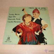 Discos de vinilo: FIESTA DE LA JOTA : TOMÁS MARCO - JOSÉ OTO - PASCUALA PEIRÉ - CECILIO NAVARRO - EP 1961. Lote 51153275