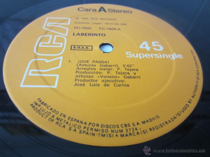 Discos de vinilo: LABERINTO - ¡QUE PASSA! 1983 SPAIN MAXI SINGLE - Foto 3 - 51171259