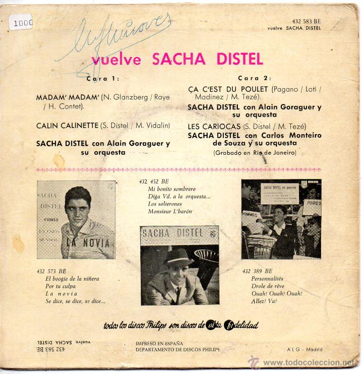 Discos de vinilo: SACHA DISTEL, EP, MADAM, MADAM + 3, AÑO 1961 - Foto 2 - 51183672