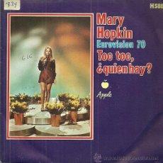 Discos de vinilo: MARY HOPKIN SINGLE SELLO APPLE-HISPAVOX AÑO 1970 FESTIVAL DE EUROVISION EDITADO EN ESPAÑA. Lote 51185359
