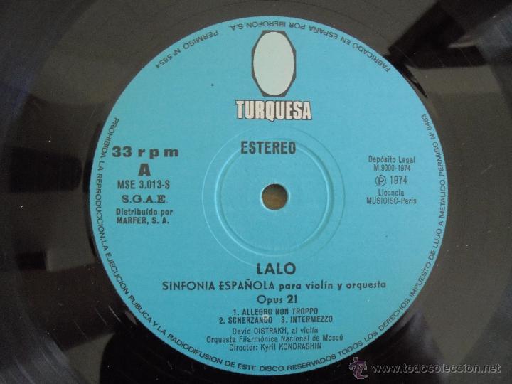Discos de vinilo: EDOUARD LALO. SINFONIA ESPAÑOLA PARA VIOLIN Y ORQUESTA. DAVID OISTRAKH. VER FOTOGRAFIAS ADJUNTAS. - Foto 4 - 51223067