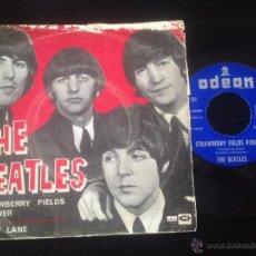 Discos de vinilo: SINGLE THE BEATLES STRAWBERRY FIELDS - PENNY LANE ODEON 1967 DIFICIL CARATULA SUFRIDA. Lote 51247529