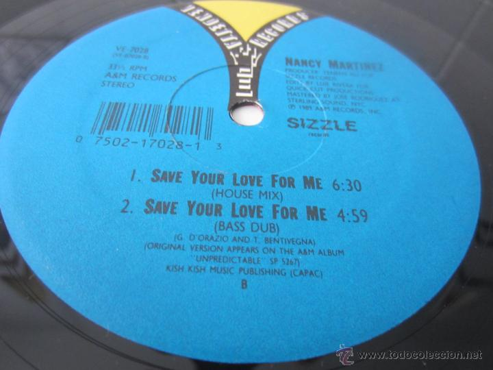Discos de vinilo: NANCY MARTINEZ - SAVE YOUR LOVE FOR ME (5 VERSIONES) 1989 USA MAXI SINGLE - Foto 4 - 51327623