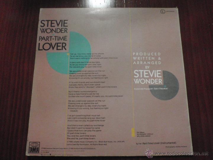 Discos de vinilo: STEVIE WONDER - PART TIME LOVER. Maxi-single Motown 1985 - Foto 2 - 51339821