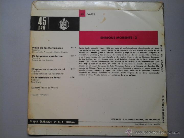 Discos de vinilo: ENRIQUE MORENTE. CANTE FLAMENCO / VOL.3. EP. HISPAVOX 1967.FELIX DE UTRERA. MUY RARO - Foto 2 - 51380067