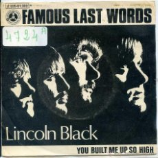 Discos de vinilo: LINCOLN BLACK / FAMOUS LAST WORDS / YOU BUILT ME UP SO HIGH (SINGLE PROMO 1970). Lote 51387291