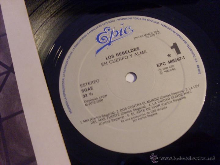 Discos de vinilo: LOS REBELDES (EN CUERPO Y ALMA ) LP (NM/NM) (VIN20) - Foto 2 - 51422817