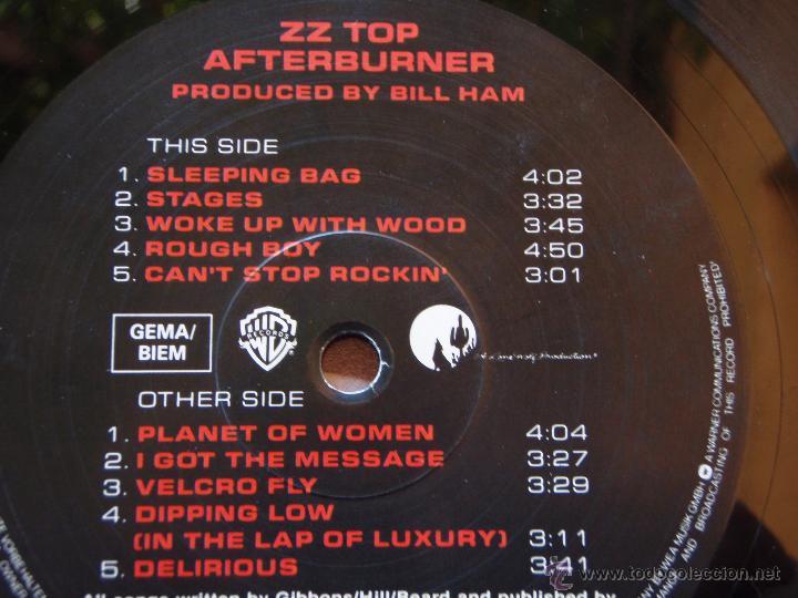 Discos de vinilo: ZZ TOP ( AFTERBURNER ) 1985 - GERMANY LP33 WARNER BROS RECORDS - Foto 3 - 51427663