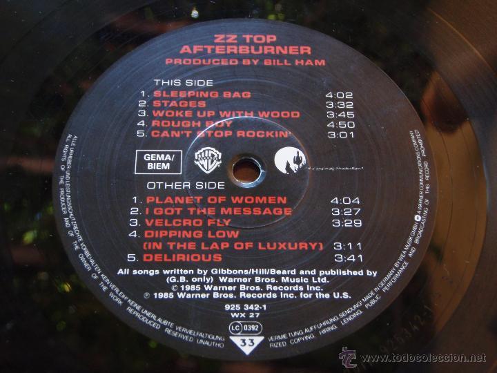 Discos de vinilo: ZZ TOP ( AFTERBURNER ) 1985 - GERMANY LP33 WARNER BROS RECORDS - Foto 4 - 51427663