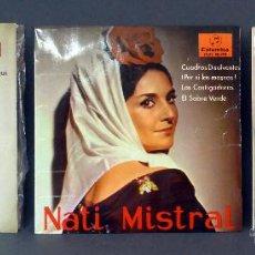 Discos de vinilo: 3 NATI MISTRAL GRACIA NO SOY DE AQUÍ CUADROS DISOLVENTES ESTUDIANTINA PASA FLOR CANELA VINILO 45 RPM. Lote 51458420