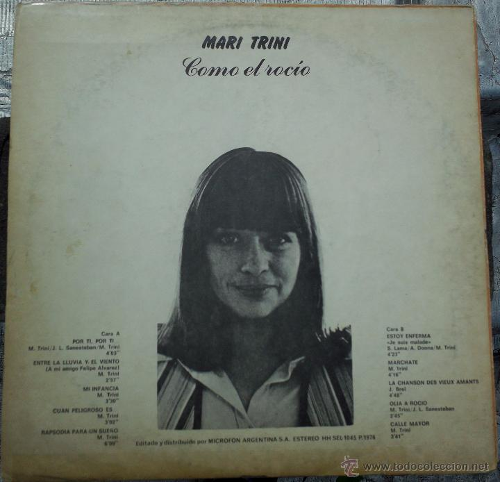 Discos de vinilo: LP argentino de Mari Trini año 1976 - Foto 2 - 51485593