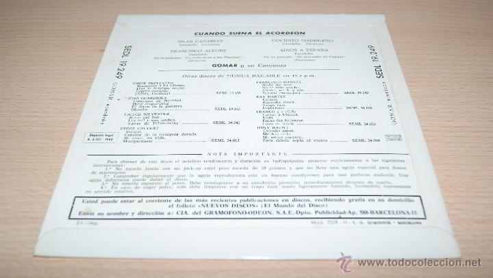 Discos de vinilo: Gomar y Su Conjunto - Cuando Suena El Acordeón - Regal 1960 - Foto 2 - 51487310
