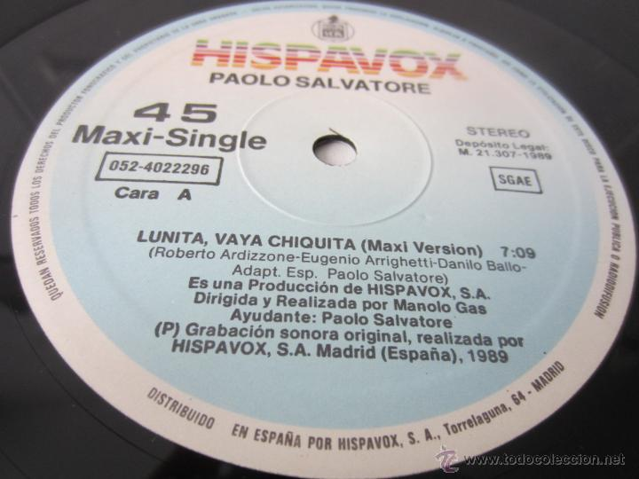 Discos de vinilo: PAOLO SALVATORE (MANOLO GAS) - LUNITA, VAYA CHIQUITA (2 VERSIONES) 1989 SPAIN MAXI SINGLE - Foto 3 - 128604216