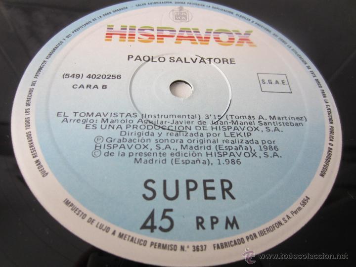 Discos de vinilo: PAOLO SALVATORE - EL TOMAVISTAS (2 VERSIONES) 1986 SPAIN MAXI SINGLE - Foto 4 - 51491249