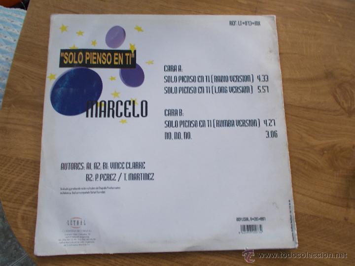 Discos de vinilo: MARCELO. SOLO PIENSO EN TÍ MAXI 12 - Foto 4 - 51493203