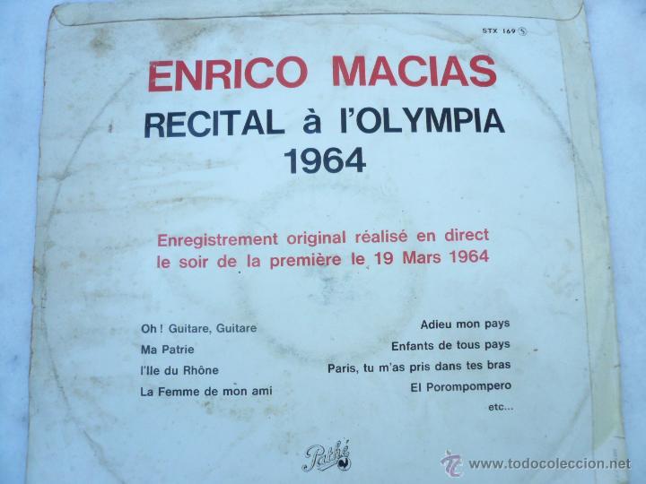 Discos de vinilo: LP ENRICO MACIAS RECITAL AL OLYMPIA, 1964 - Foto 2 - 51512700