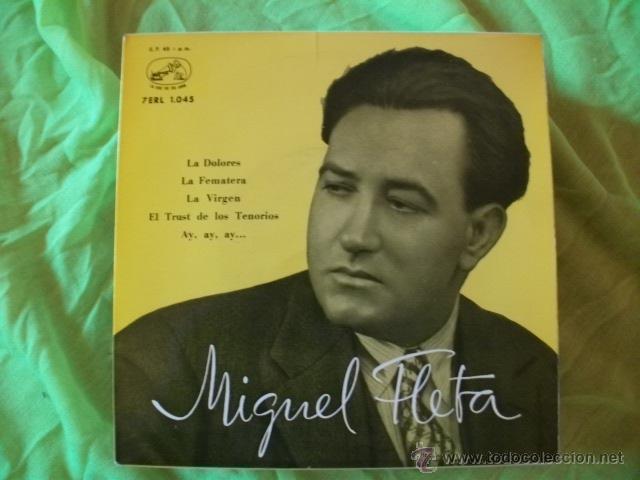 MIGUEL FLETA SINGLE EP LA DOLORES 1959 (Música - Discos - Singles Vinilo - Clásica, Ópera, Zarzuela y Marchas)