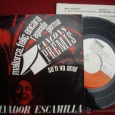 Discos de vinilo: SALVADOR ESCAMILLA : EP 1963 EDIPHONE C. M. Nº 29, 4 CANÇONS 4 PREMIS. NUEVO Y CON INSERTO. Lote 51555967