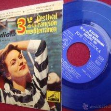 Discos de vinilo: JOSÉ GUARDIOLA: EP 1961 LA VOZ DE SU AMO 7EPL 13.665, 3ER FESTIVAL DE LA CANCIÓN MEDITERRÁNEA. Lote 51562238