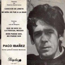 Discos de vinilo: PACO IBAÑEZ, EP, CANCION DE JINETE + 3, AÑO 1969. Lote 51673312