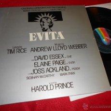 Discos de vinilo: EVITA ORIGINAL LONDON CAST RECORDING LLOYD WEBBER. ESSEX&ELAINE PAIGE LP 1979 ESPAÑA SPAIN GATEFOLD. Lote 51679182