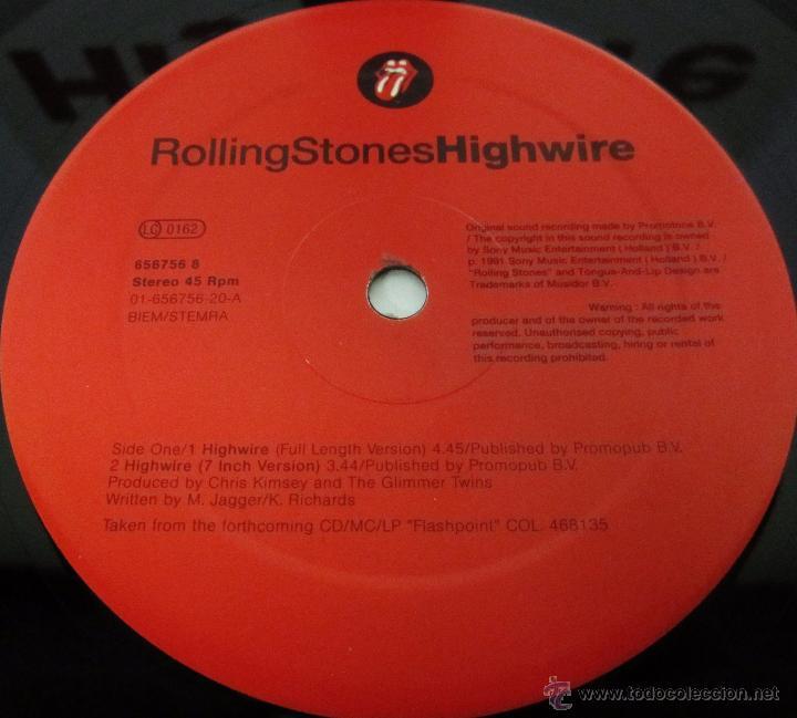 Discos de vinilo: THE ROLLING STONES - HIGHWIRE - MAXI 4 TEMAS UK 1991 MX - MINT - Foto 2 - 51716201