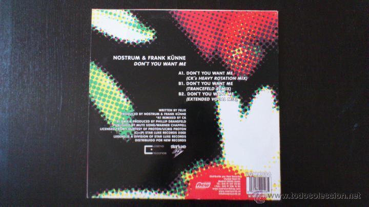 Discos de vinilo: NOSTRUM AND FRANK KÜNE - DON´T YOU WANT ME - MAXI - VINILO - 12 - NEW RECORDS - 2002 - Foto 2 - 51771028