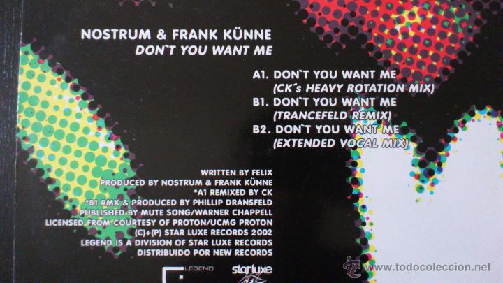 Discos de vinilo: NOSTRUM AND FRANK KÜNE - DON´T YOU WANT ME - MAXI - VINILO - 12 - NEW RECORDS - 2002 - Foto 3 - 51771028
