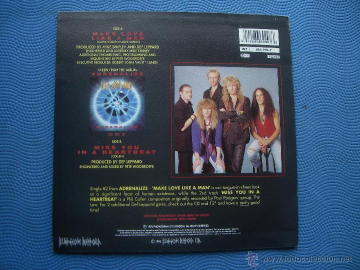 Discos de vinilo: DEF LEPPARD MAKE LOVE LIKE A MAN SINGLE SPAIN 1992 PROMO PDELUXE - Foto 2 - 51773499