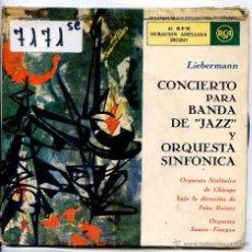 Discos de vinilo: CONCIERTO PARA BANDA DE JAZZ Y ORQUESTA SINFONICA / LIEBERMANN (DOBLE EP 1959). Lote 51781460