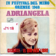 Disques de vinyle: ADRIANGELA / GIGANTE + 1 (SINGLE PROMO 1968) IV DESTIVAL DEL MIÑO. Lote 51786272