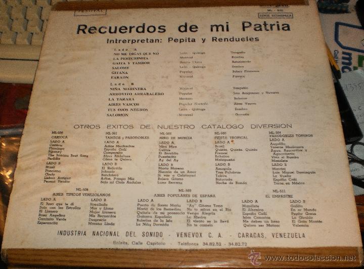 Discos de vinilo: rendueles y pepita inurria lp recuerdos de mi patria.venezuela.ver fotos - Foto 2 - 51808982