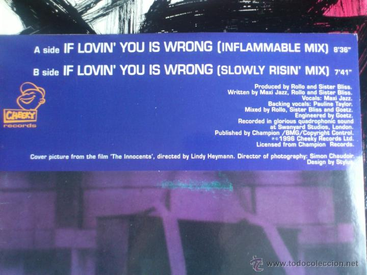 Discos de vinilo: FAITHLESS - ROLLO AND SISTER BLISS - IF LOVIN´ YOU IS WRONG - MAXI - VINILO - CHEEKY - MAX - 1996 - Foto 3 - 51921838
