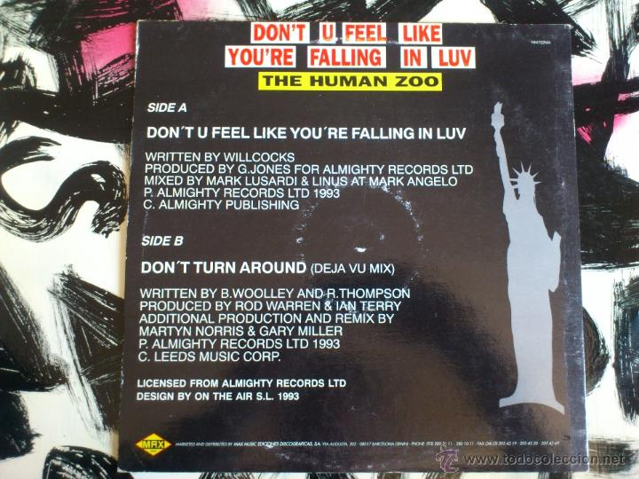 Discos de vinilo: THE HUMAN ZOO - DON´T TURN AROUND - MAXI - VINILO - MAX MUSIC - 1993 - Foto 3 - 51930790