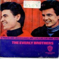 Discos de vinilo: THE EVERLY BROTHERS / EL PRECIO DEL AMOR / DONNA DONNA + 2 (EP 1965). Lote 51932264