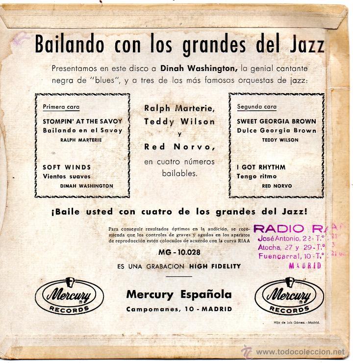 Discos de vinilo: BAILANDO CON LOS GRANDES DEL JAZZ, EP, DINAH WASHINGTON - SOFT WINDS + 3, AÑO 1959 - Foto 2 - 51959331