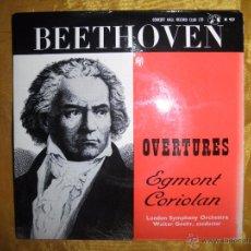 Discos de vinilo: BEETHOVEN. OVERTURES. EGMONT / CORIOLAN. CONCERT HALL. EDICION INGLESA. IMPECABLE. Lote 51979706