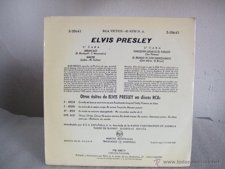 Discos de vinilo: ELVIS PRESLEY - ARRANCALO- EP- RCA 3-20643 / 1963 - fascimil 1987 (***RAREZA***) - Foto 2 - 51997945