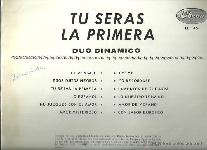 Discos de vinilo: DUO DINAMICO LP SELLO ODEON EDITADO EN PERU. - Foto 2 - 52030568