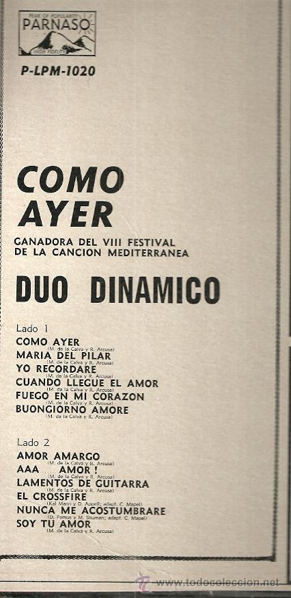 Discos de vinilo: DUO DINAMICO LP SELLO PARNASO EDITADO EN USA. - Foto 2 - 52031005
