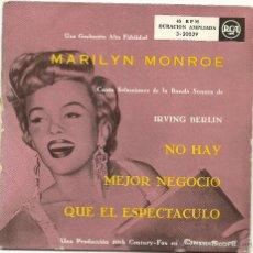 Discos de vinilo: MARILYN MONROE. SELECCION DE LA BANDA SONORA DE IRVING BERLIN (VINILO EP ). Lote 52088176