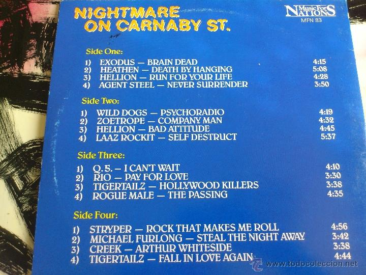 Discos de vinilo: NIGHTMARE ON CARNABY S.T - VARIOUS ARTISTS - DOBLE VINILO - LP - MUSIC FOR NATIONS - 1987 - Foto 4 - 52158713