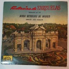 Discos de vinilo: VINILO SINGLE, FANTASIAS DE ZARZUELAS, LA GRAN VIA, BANDA MUNICIPAL DE MADRID, 1958. Lote 52168025