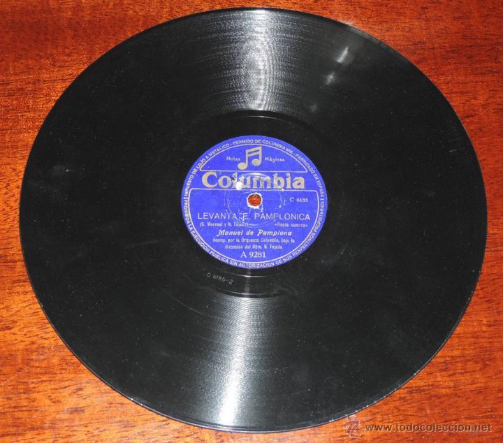 Discos de vinilo: DISCO DE PIZARRA DE MANUEL DE PAMPLONA, MAESTRO TEJADA, ED.Columbia A 9281,LEVANTATE PAMPLONICA / CO - Foto 3 - 52287992