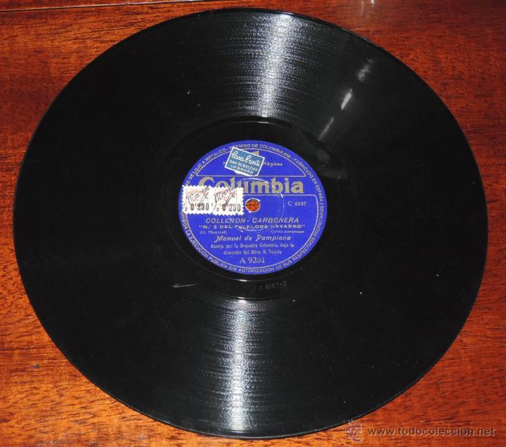 Discos de vinilo: DISCO DE PIZARRA DE MANUEL DE PAMPLONA, MAESTRO TEJADA, ED.Columbia A 9281,LEVANTATE PAMPLONICA / CO - Foto 4 - 52287992