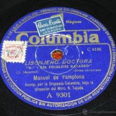 Discos de vinilo: DISCO PIZARRA DE MANUEL DE PAMPLONA, Nº 1- 3 DEL FOLKLORE NAVARRO (JOTAS NAVARRAS) ADIOS NAVARRICA. . Lote 52288173