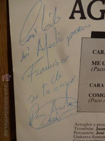 Discos de vinilo: FIRMADO !! PACO AGUILERA. ME GUSTA TU CARA / SG / HORUS - 1988. MUY BUENA CALIDAD ****/*** - Foto 3 - 142687074