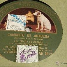 Discos de vinilo: OFELIA DE ARAGON DISCO DE PIZARRA ( CAMINITO DE ARACENA). Lote 52315199
