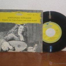 Discos de vinilo: ANTONIO VIVALDI 7´´ MEGA RARO EXTENDED PLAY KONZERT FÜR VIOLA D´ AMORE UND LAUTE D-MOLL GERMANY. Lote 52324585